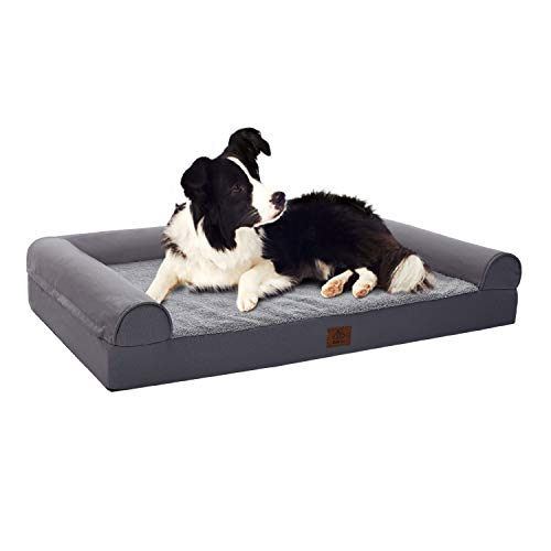 Eterish Extra Large Orthopedic Dog Bed for Medium, Large, Extra Large Dogs up to 100 lbs, 4 inches Thick Egg-Crate Foam Bolster Dog Sofa Couch Bed with Removable Cover, Pet Bed Machine Washable, Grey Beds