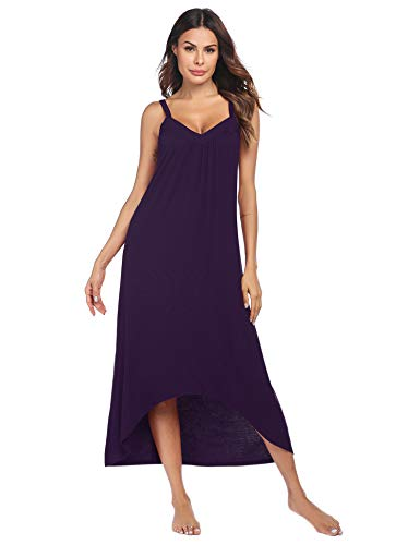 Ekouaer Womens Sleeveless Long Nightgown Summer Slip Night Dress Cotton Sleepshirt Chemise, A-dark Violet 6696, XX-Large