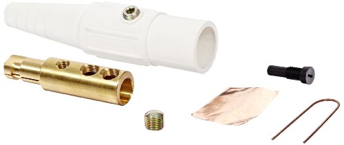 Marinco CLS40MB-B CLS Cam Type, Series 16 Inline, Single Pin Connector, 400 Amp, 600 Volt, 2/0-4/0 AWG, Male - White (B)