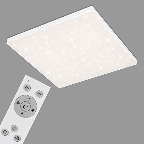 Briloner Leuchten - LED Panel, Deckenleuchte dimmbar, Deckenlampe mit Lichtkante, Sternendekor, inkl. Fernbedienung, Farbtemperatursteuerung, 38 Watt, 3.800 Lumen, Weiß, 595x595x69mm (LxBxH)