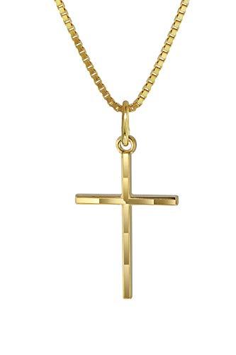 trendor Kreuz-Anhänger Gold 333 mit goldplattierter Kette Kinder Halskette, Gold Kreuz Anhänger für Jungen und Mädchen, Geschenk aus Echtgold 08492-40 40 cm