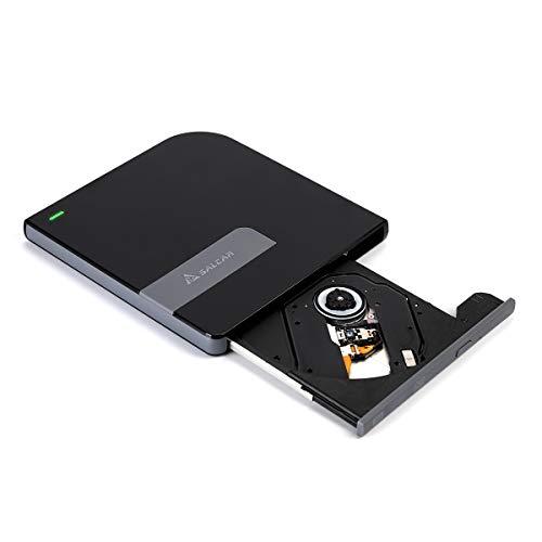 SALCAR Externes DVD/CD Laufwerk USB 3.0 Brenner DVD RW, 100% Neu Chip, für Windows 7/8/10 und Mac OS für MacBook, MacBook Pro/Air, iMac; für PC und Laptops/Desktop z.B asus, hp, acer, Lenovo, Schwarz