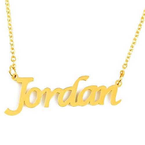 Kigu Jordan Name Necklace Personalised 18ct Gold Plated, Custom Dainty Name Pendants, Jewellery for Ladies, Girlfriend, Mother, Sister, Friends Inc Bag & Box