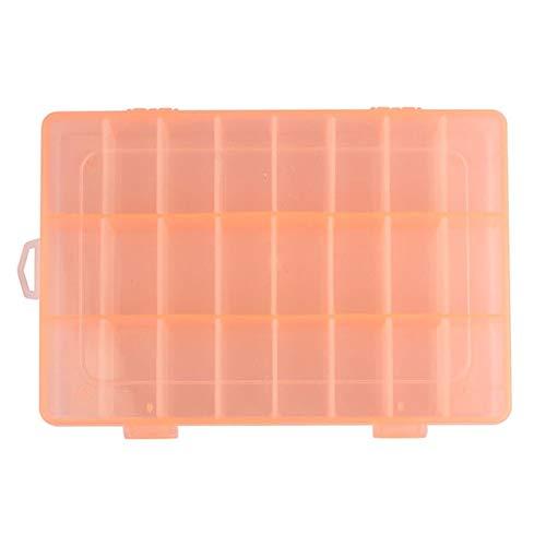 Mdsfe transparante kunststof opbergdoos met 24 vakjes verstelbare opbergdoos voor sieradenschroeven - oranje, a1