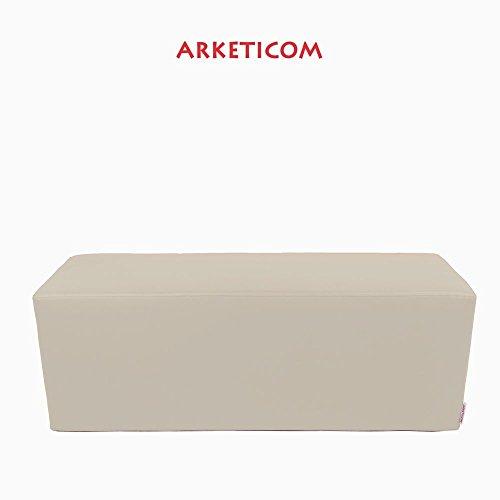 Arketicom Horizon Pouf Long ou Banquette Repose-Pieds en Faux Cuir et Polyurethane Mousse Dur a Haute densite (PUF Puff pouffe Seance) Mesure 42H x 42L x 84L cm Couleur Beige