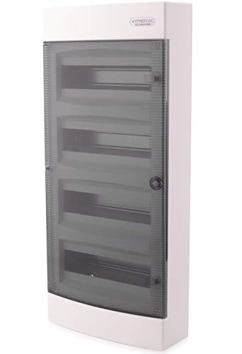 Sicherungskasten Aufputz IP40 Verteiler Gehäuse 4 reihig bis 48 Module Transparenter Tür für die Trockenraum Installation im Haus