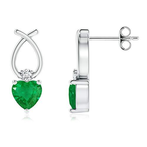Oferta de Navidad–May piedra Natal–Solitario con forma de corazón natural esmeralda pendientes de gota para las mujeres