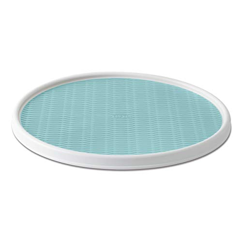 Copco Non-Skid Pantry Cabinet Lazy Susan Turntable, 18-Inch, White/Aqua