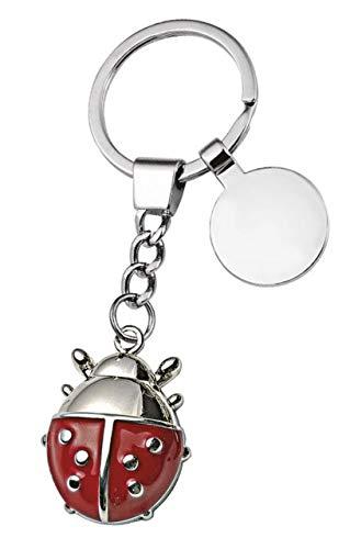 Llavero de Mariquita Rojo Cromado con Placa - Amuleto - Suerte