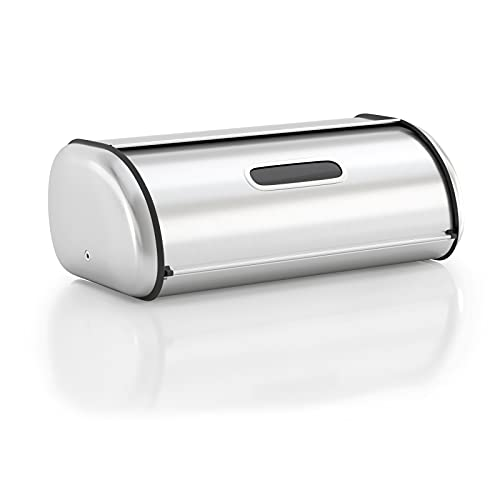 Anlisnut Stainless Steel Bread Box for Kitchen Countertop, Extra Thick Sturdy Bread Storage Container Roll Up Style Bread Bin Large Size
