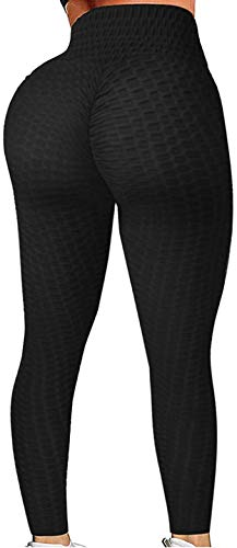 FITNEXX Women's Sexy Booty Ruched Push Up Textured Leggings High Waist Yoga Pants Brazilian Butt Lift Fitness Tights