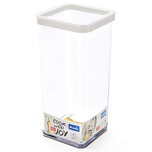 Rotho Loft Vorratsdose 1.5 l, Kunststoff (BPA-frei), transparent / weiss, 1.5 Liter (10 x 10 x 21,4 cm)