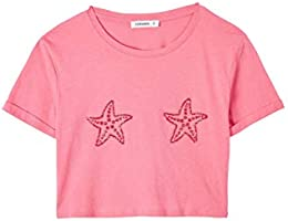 TERRANOVA T-Shirt Crop con Stampa Marina Donna