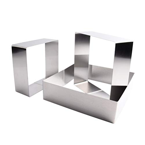 Yardwe Stainless Steel Cake Ring Square Dessert Mousse Mold Mini Cooking Ring Mold Baked Pastry Ring Cake Decorating Tool 3pcs