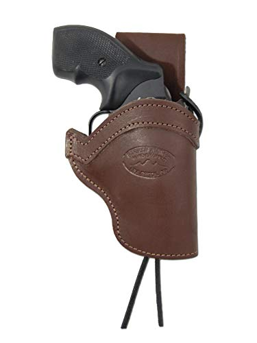 Barsony New Brown Leather Belt Loop Western Hip Holster for Taurus 605; 650 CIA Right