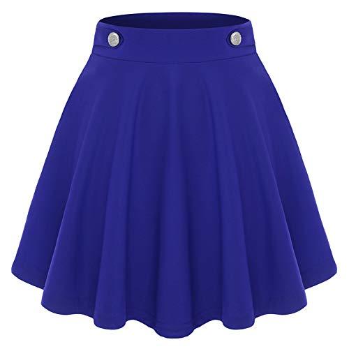 Damen Mädchen Basic Solid Dehnbaren Skater Mini Rock A-Line Minikleid Royal Blue XL
