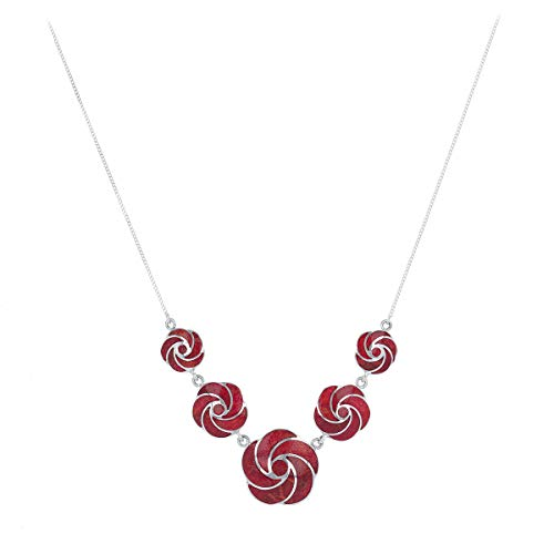 Rhodium-Plated 925 Sterling Silver Spiral Coral Flower Necklace