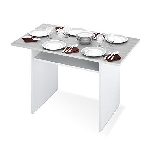 Habitdesign 0L4587A - Mesa Consola desplegable, Mesa de Cocina Extensible Apertura Tipo Libro, Color Blanco Artik y Cemento, Medidas: 77 x 120 x 35 cm de Fondo