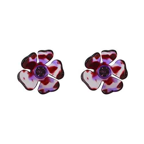 XRHDX Pendientes de diamantes de resina translúcida con diseño europeo y americano para mujer (color morado)