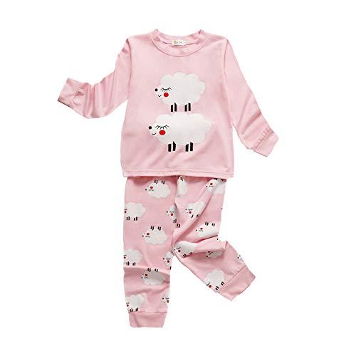 Pijama de Navidad para nios y nias, linda nube con estampado de ovejas, ropa de dormir tops pantalones conjuntos de ropa de dormir 1-7T