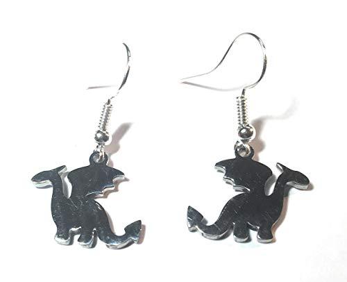 FizzyButton Gifts Drachen-Ohrringe mit Edelstahl-Charms und versilberten Ohrhaken in türkiser Geschenkbox