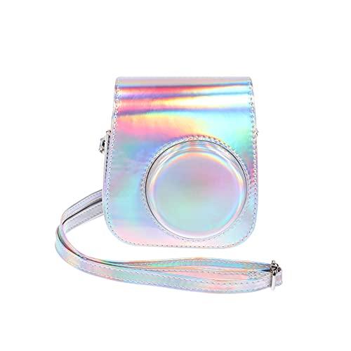 ABOOFAN Kompatibel für Instax Mini 11 9 8 Instant Film Kamera Holographische Fall Leder Abdeckung mit Regenbogen Strap