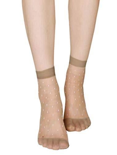 Sourcingmap 10 Paar Damen Gepunktetes Muster Knöchellang Dehnbar Schier Socken Beige
