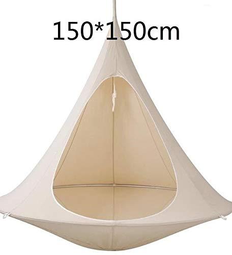 HONIC Teepee Baum Pod Kinder Babyschaukel Hammock Kinder Camping Stuhl Indoor Outdoor Hängesessel Bonsai Doppelzimmer Einzel Tent Geschenk Sitz: weiß 150cm