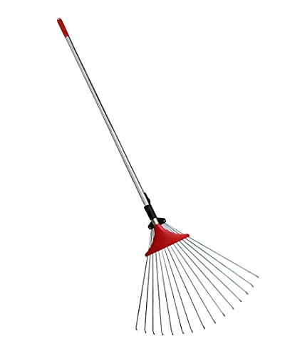 TABOR TOOLS J17A Metal Rake, 61 Inch Leaves Garden Leaf Rake with Solid One-Piece Handle and Adjustable 8-20 Inch Width Folding Head. Rake for Quick Clean Up of Lawn and Yard