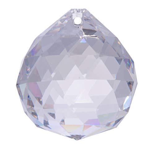 kabemi Glas-Kristall-Kugel zum aufhängen, KLAR, 50 mm, eine Öse, Dreiecksschliff, für Fensterdekoration, Kronleuchter, Sonnenfänger, Mobile, Tischdeko, Wohndeko