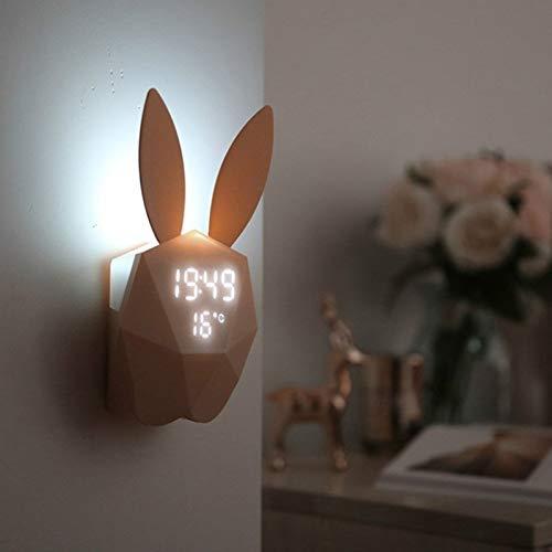 Tienda de Sonido LED luz de la Noche termómetro Tabla Recargable Relojes de Pared Linda Forma de Conejo Reloj Alarma Digital TTYDB (Color : Pink)