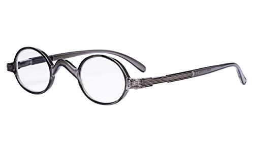 Eyekepper Lezer veerscharnier beugel klassieker mini kleine ovaal ronde leesbrillen +1.50 Grijs frame.