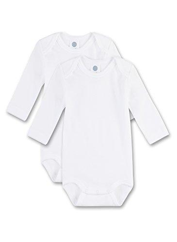 Sanetta Unisex - Baby Body 321861, 2Er Pack, Einfarbig, Gr. 50, Weiß (White 10)