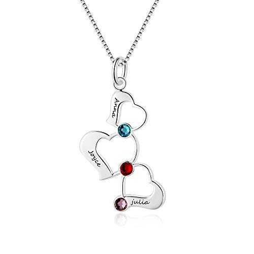 XiXi Collar Personalizado con Nombre Corazón Colgante 3 Pierre de Naissance Collar para Mujer Madre Regalo para Cumpleaños Dia de la Madre