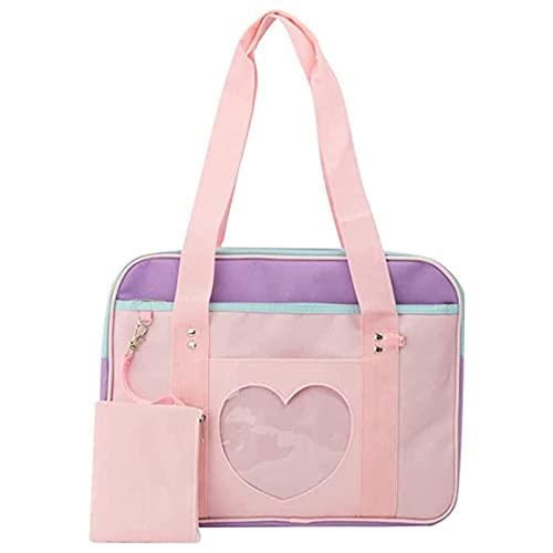 SKYXIU Bolsos de hombro Corazón forma ventana caramelo Tote bolso Satchels Beach Bag