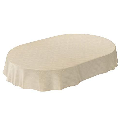 ANRO - Mantel de hule lavable, para mesa, 95% PVC, 5% poliéster., Diseño de rayas con adornos en color crema., Oval 140 x 200cm Schnittkante
