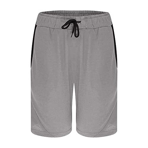 2021 Pantaloncini sportivi da uomo con coulisse, vita elasticizzata, 5 pantaloni estivi, da jogging, da uomo, con tasca, grigio, L
