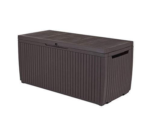 Keter 123 x 53.5 x 57 cm Springwood Outdoor Plastic Storage Box Garden Furniture - Brown