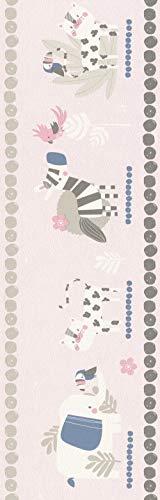 Rasch behang Rasch Borten papierboord (kindvriendelijk) roze 5,00 m x 0,17 m Bambino XVIII 249873 behang