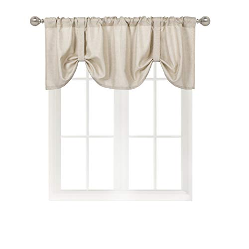 Home Queen Tie Up Shade Curtain Valance Window Treatment for Living Room, Adjustable Balloon Drape Valance, Set of 1, 54 W X 18 L Inch, Taupe