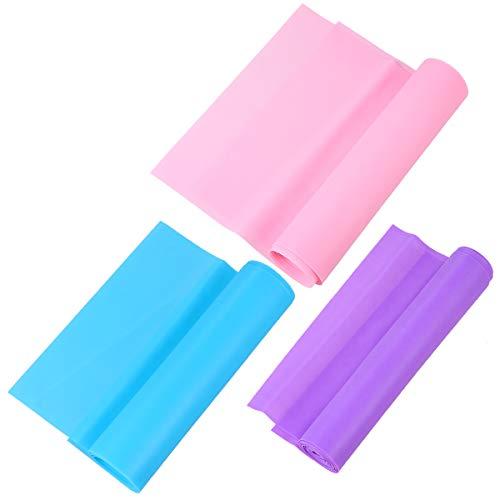 ABOOFAN 3 unids 2m Yoga Tension Belt Deportes Elástico Cinturón Estiramiento Cuerda Fitness Correa Resistencia Banda (Rosa/Púrpura/Azul)