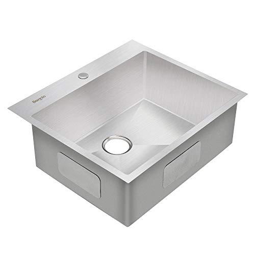 Bonnlo 25 Inch Drop In Kitchen Sink 18 Gauge T304 Stainless Steel Single Bowl Topmount Sink 25 X 22 X 9 Inch Wantitall