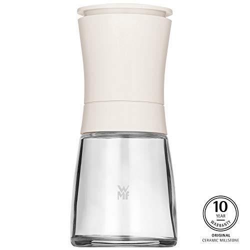 WMF Trend Gewürzmühle 14 cm, unbefüllt, Glasbehälter, Keramikmahlwerk, Mühle für Salz, Pfeffer, Gewürze, Chilischoten, weiß