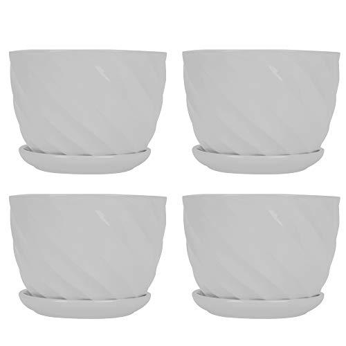 Reticolo Filo 4 Vite Vasi di Ceramica, Vasi, con Una Casa Alimentazione Vassoio Giardinaggio Vasi (Bianco) (Color : White, Sheet Size : 14X11CM)