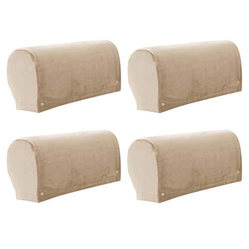 2 Paar Armlehnenbezug, Samt Stretch Armlehnenschoner, Elastisch Anti-Rutsch Antifouling Armlehnenbezüge Für Sessel, Sofa, Stuhl, Couch (Kamel)