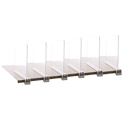 6PCS Multifunction Acrylic Shelf Dividers,Closets Shelf and Closet Separator for Wood Closet,Only Need to Slide to Adjust The Appropriate Distance