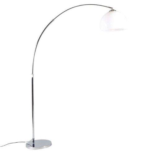 QAZQA Design/Modern/Retro Moderne Bogenlampe Chrom mit weißem Schirm - Arc Basic/Innenbeleuchtung/Wohnzimmerlampe Kunststoff/Stahl Rund/Kugel/Kugelförmig LED geeignet E27 Max. 1 x 20 Watt