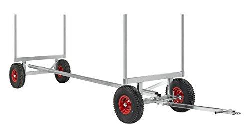 Schwerlast-Transportwagen luftbereift, 3500 kg Tragkraft, 250 bis 400 cm Wagenlänge, Rungenwagen aus verzinktem Stahl für den Transport von Langmaterial wie Rohre, mit Deichsel