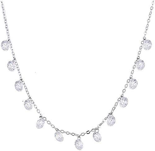 Aluyouqi Co.,ltd Collar Collar Collar de plata925 Mujeres Brillantes Collares de Cadena Corta Collar de Mujer Joyería Regalo de Boda