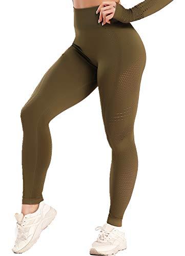 CROSS1946 - Traje de deporte para mujer, transpirable, parte superior sin abdomen, camiseta de manga larga y leggings push up verde. S